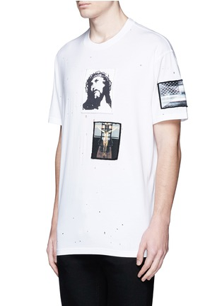 Front View - Click To Enlarge - Givenchy Beauty - Jesus patch distressed cotton T-shirt