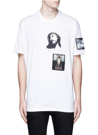 Main View - Click To Enlarge - Givenchy Beauty - Jesus patch distressed cotton T-shirt