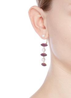 Delfina Delettrez'Lips on Me Piercing' ruby pearl single drop earring