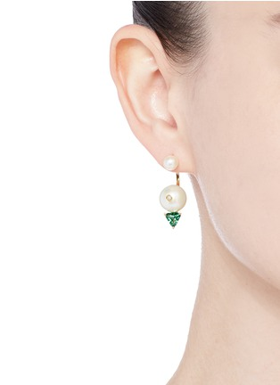 Figure View - Click To Enlarge - Delfina Delettrez - 'Trilight Piercing' diamond pearl 18k gold single earring
