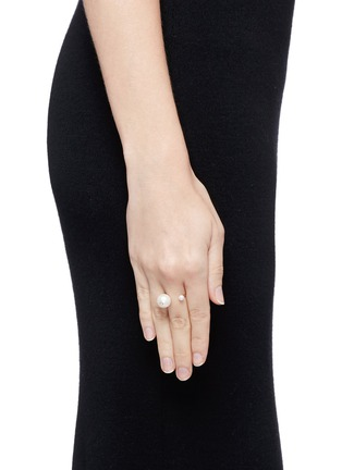 Figure View - Click To Enlarge - Delfina Delettrez - 'Pearl Piercing' diamond 18k yellow gold ring