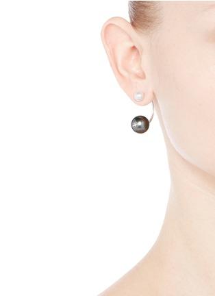 Figure View - Click To Enlarge - Delfina Delettrez - 'Pearl Piercing' 18k white gold single earring