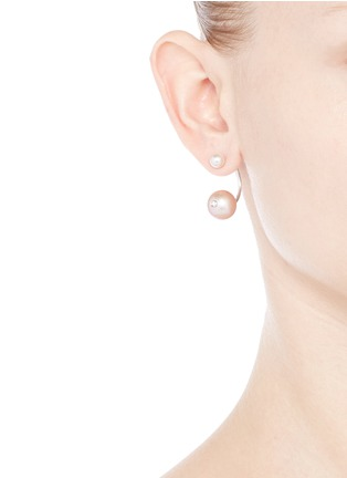 Figure View - Click To Enlarge - Delfina Delettrez - 'Pearl Piercing' 18k white gold single earring