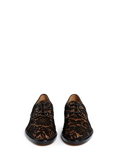 GIVENCHYFloral lace overlay leather Derbies