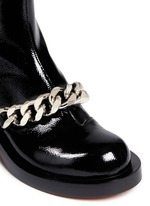 Chunky chain saffiano leather ankle boots