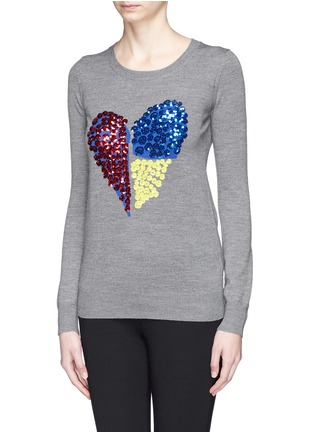 Front View - Click To Enlarge - MARKUS LUPFER - 'Tribal Spot' sequin heart Natalie sweater