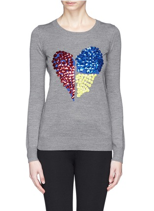 Main View - Click To Enlarge - MARKUS LUPFER - 'Tribal Spot' sequin heart Natalie sweater