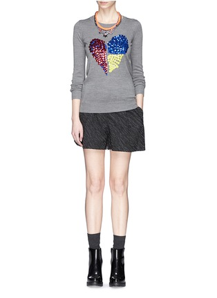 Figure View - Click To Enlarge - MARKUS LUPFER - 'Tribal Spot' sequin heart Natalie sweater
