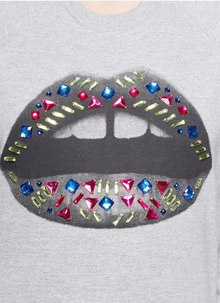 Detail View - Click To Enlarge - MARKUS LUPFER - 'Tribal' Smacker Lip Tribal' jewel sweatshirt