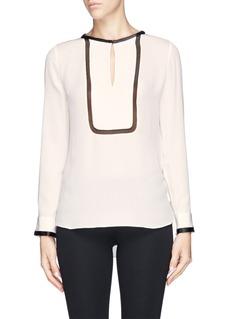 DIANE VON FURSTENBERG'Inguna' tuxedo front silk blouse