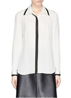 DIANE VON FURSTENBERG'Quiana' contrast trim silk blouse