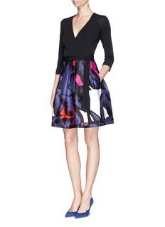 DIANE VON FURSTENBERG'Jewel' poppy leopard print pleat wrap dress