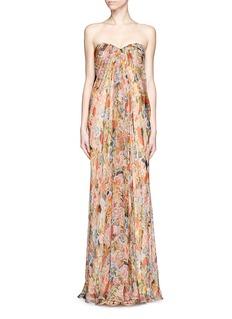 ALEXANDER MCQUEENFloral print silk chiffon strapless gown