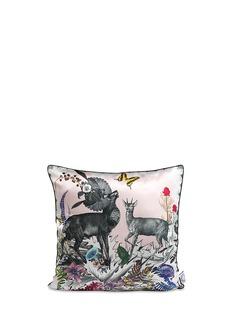 KRISTJANA S WILLIAMS'Thistle Zebra & Deer' cotton cushion