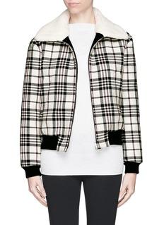 CARVENMohair collar lining plaid jacket