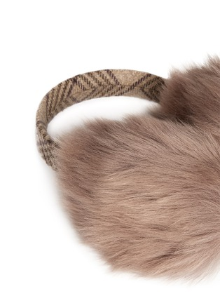 Detail View - Click To Enlarge - KARL DONOGHUE - Old cuir Toscana sheepskin wool band ear muffs