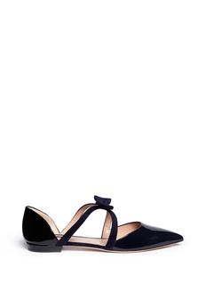 GIORGIO ARMANISuede bow strap patent leather d'Orsay flats