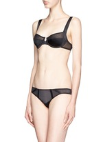 'Expose' caged silk panel tulle briefs
