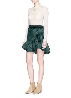 Isabel Marant'Aurora' asymmetric ruffle satin wrap skirt