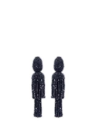 Oscar de la Renta-Beaded two-tier tassel clip earrings