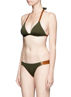 ViX Solid Military' leather strap bikini bottoms