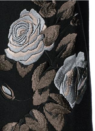 细节 - 点击放大 - ALEXANDER MCQUEEN - 玫瑰刺绣纯棉运动裤