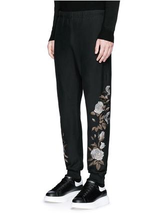 正面 -点击放大 - ALEXANDER MCQUEEN - 玫瑰刺绣纯棉运动裤