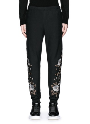 Main View - Click To Enlarge - Alexander McQueen - Floral embroidery jogging pants