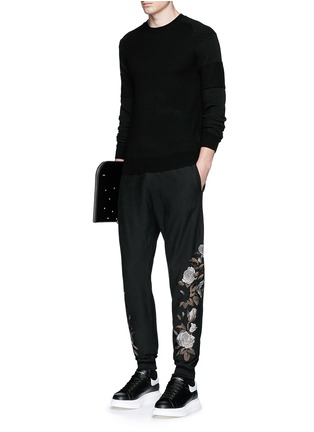 Figure View - Click To Enlarge - Alexander McQueen - Floral embroidery jogging pants