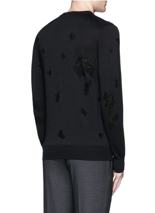 Back View - Click To Enlarge - Alexander McQueen - Distressed skull wool-cotton sweater