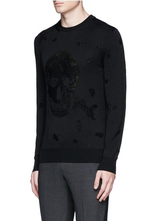 Front View - Click To Enlarge - Alexander McQueen - Distressed skull wool-cotton sweater
