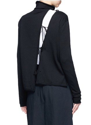 Back View - Click To Enlarge - Ports 1961 - Asymmetric drawstring split turtleneck sweater
