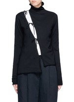 Asymmetric drawstring split turtleneck sweater
