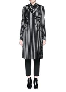 GivenchyStripe wool double breasted side split side coat