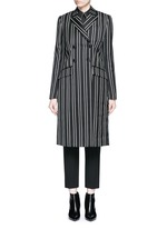 Stripe wool double breasted side split side coat