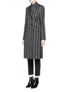 Givenchy Stripe wool double breasted side split side coat