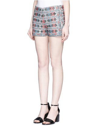Front View - Click To Enlarge - Talitha - Diamond embroidered shorts