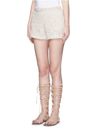 Front View - Click To Enlarge - alice + olivia - 'Susi' geometric Crochet lace shorts