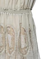 Geometric lace trim drawstring waist dress