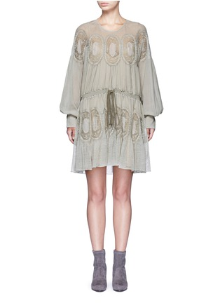 Main View - Click To Enlarge - Chloé - Geometric lace trim drawstring waist dress