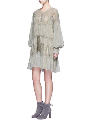 Figure View - Click To Enlarge - Chloé - Geometric lace trim drawstring waist dress