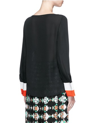 Back View - Click To Enlarge - Emilio Pucci - Stripe cuff boat neck georgette top