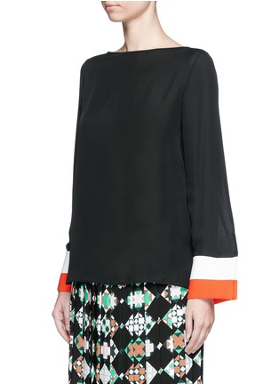 Front View - Click To Enlarge - Emilio Pucci - Stripe cuff boat neck georgette top