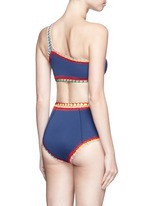 'Tasmin' crochet trim one-shoulder bikini top