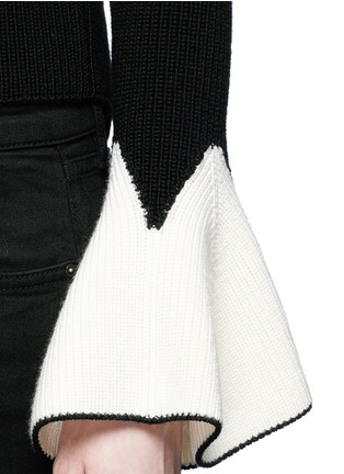 Detail View - Click To Enlarge - Alexander McQueen - Sculptural moving peplum sleeve wool sweater