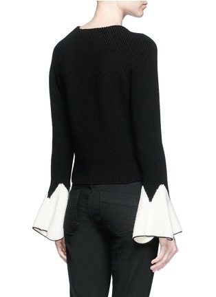 Back View - Click To Enlarge - Alexander McQueen - Sculptural moving peplum sleeve wool sweater
