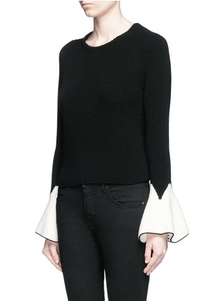 Front View - Click To Enlarge - Alexander McQueen - Sculptural moving peplum sleeve wool sweater