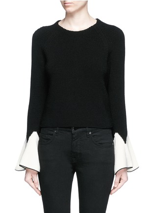 Main View - Click To Enlarge - Alexander McQueen - Sculptural moving peplum sleeve wool sweater