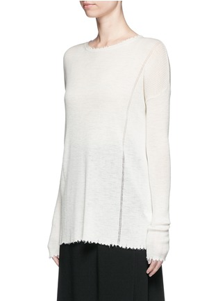 Front View - Click To Enlarge - Helmut Lang - Frayed wool knit sweater