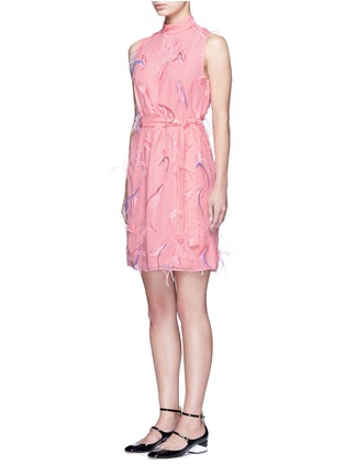 Front View - Click To Enlarge - Emilio Pucci - Ostrich feather embroidery tie waist dress